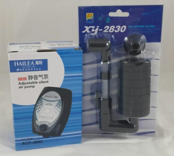 Membranpumpe HAILEA ACO-6602 + BIO-Sponge Filter xy-2830